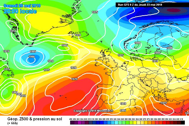 In figura l'alta pressione non riesce ad estendersi in modo deciso sulla nostra penisola