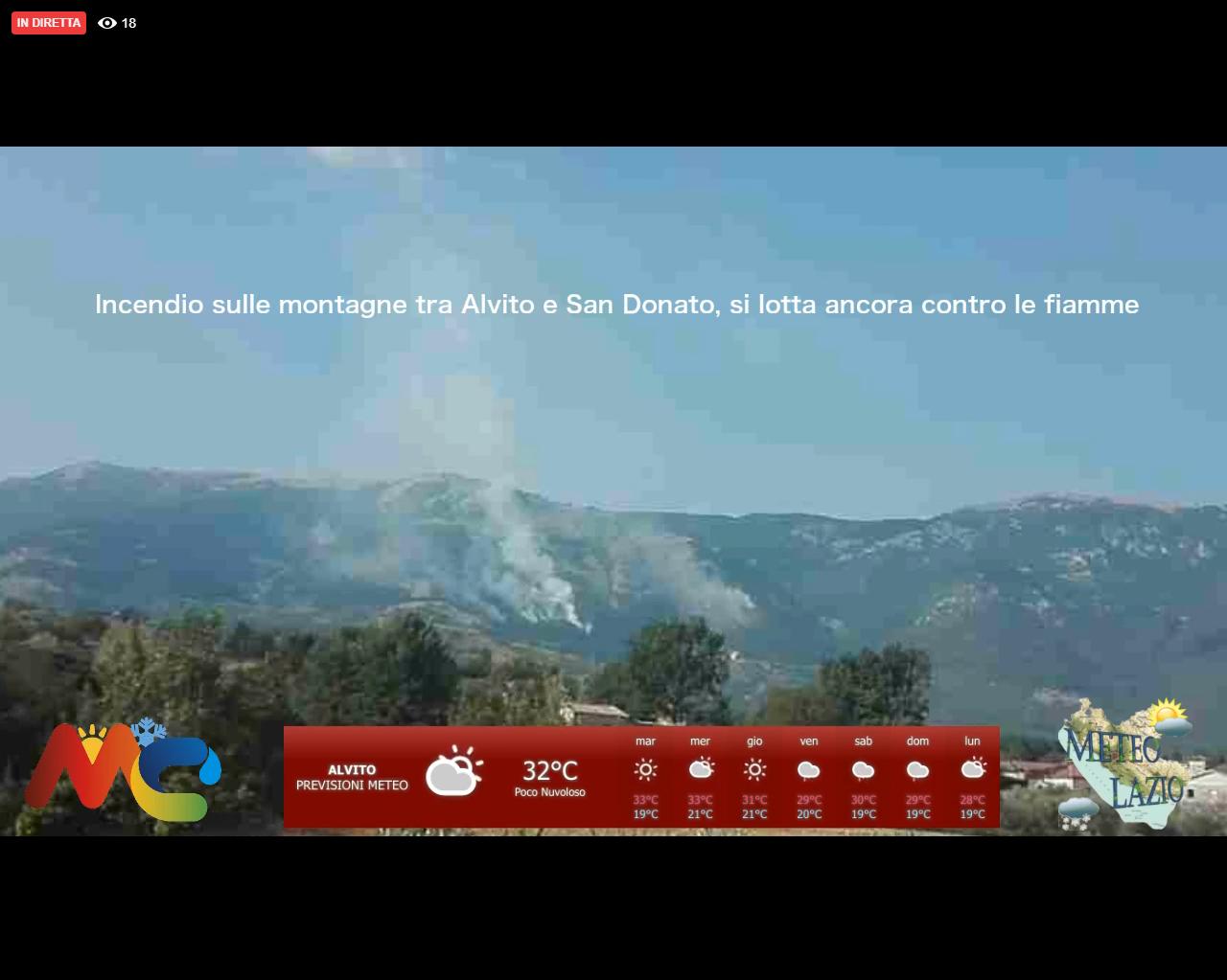 Incendio Forca d'Acero la diretta Facebook