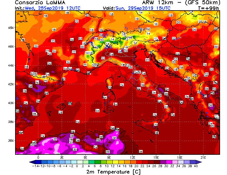 temperature attese per la giornata di domenica