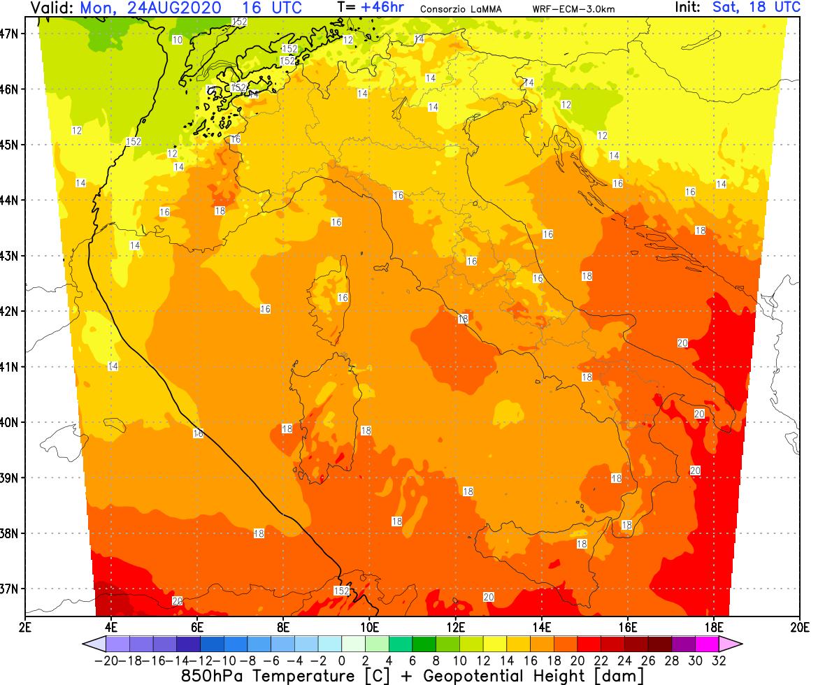 La mappa mostra le isoterme previste alla quota isobara di 850 hpa per la giornata di lunedì, quando delle piogge e dei temporali dovrebbero interessare gran parte della dorsale appenninica