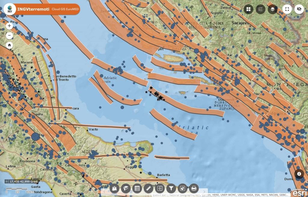 Terremoto Adriatico: faglie sismogenetiche del database DISS dell'INGV